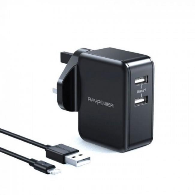 RAVPower Wall Charger COMBO 24W+Lightning Cable 1m