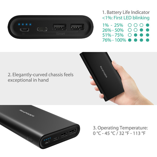 RAVPower Ace Series Portable Charger 26800 mAh w/ Dual Input (Black)
