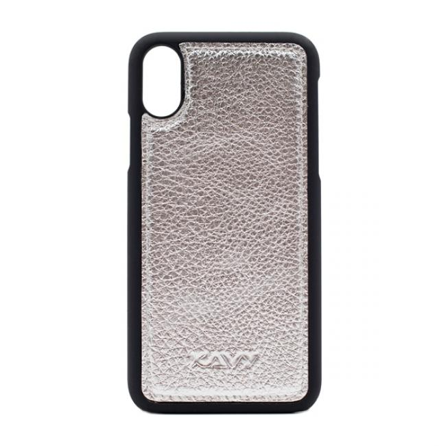 Kavy Genuine Leather Case for iPhone Xs/X (Silver)