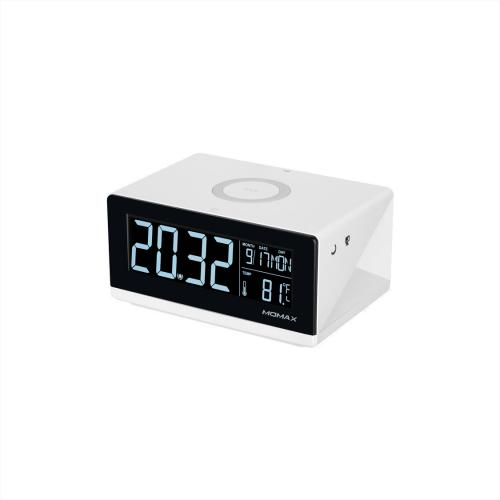 MOMAX Q.Clock Digital Clock with Wireless Charger (White)
