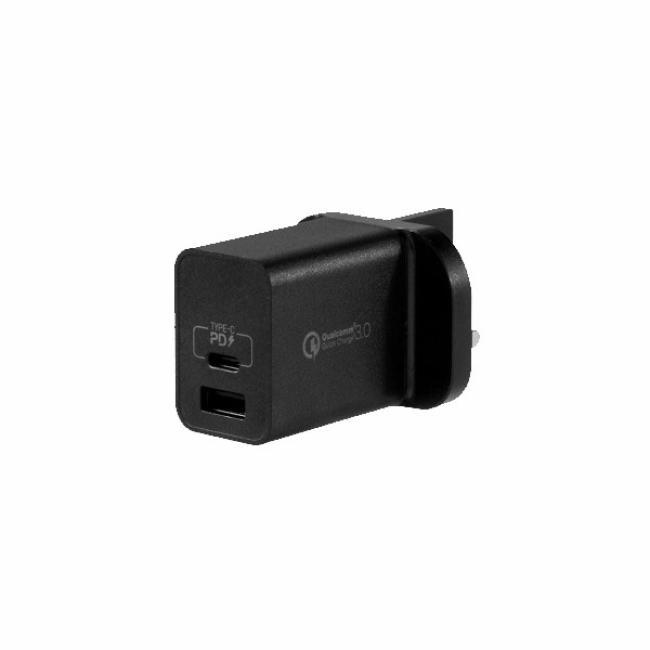 MOMAX One Plug 2 Ports USB Fast Charger 18W (Black)