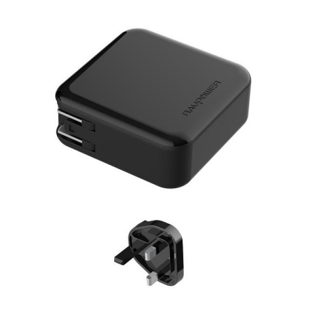 RAVPower Power Bank 2-in-1 5000mAh AC Plug PD QC3.0 (Black)