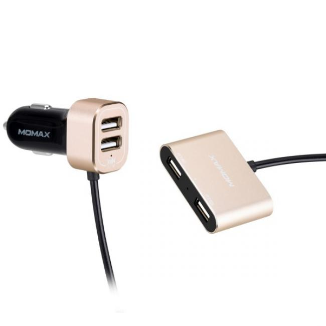 USB Car charger with extension HUB Gold
