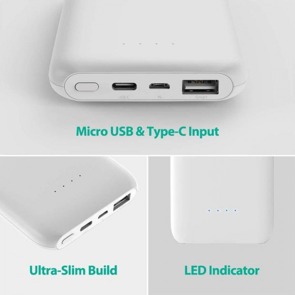RAVPower Slim Series Portable Power Bank Dual USB iSmart 10000mAh