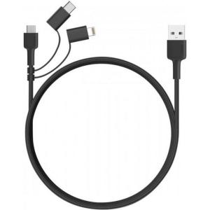 Aukey 3-in-1 Braided USB Cable 1.2m (Black)