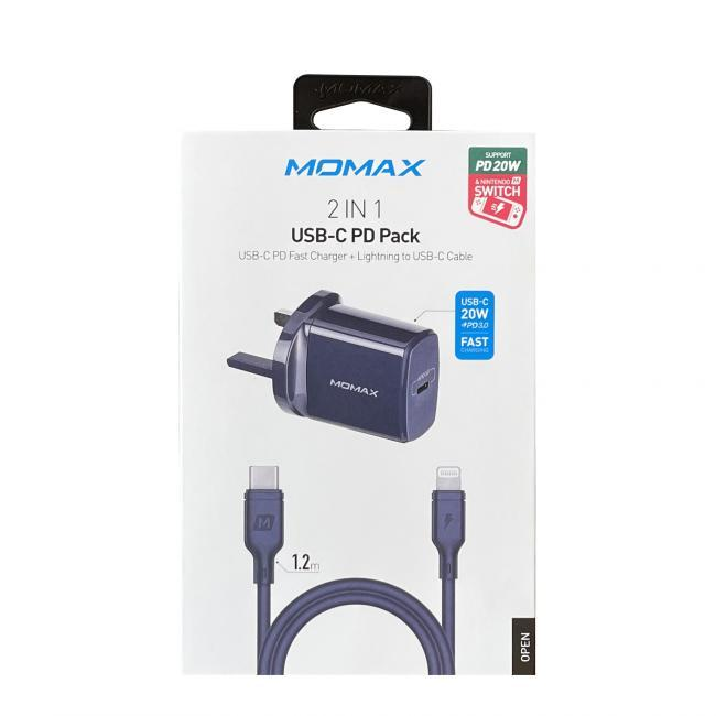 Momax USB-C PD Charger +lightning to USB-C Cable -Blue