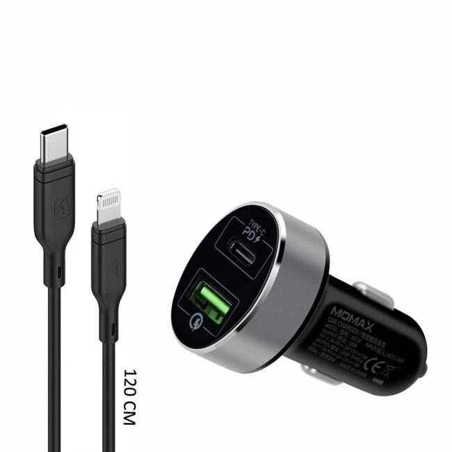 Momax USB-C PD Car Charger +lightning to USB-C Cable -Black