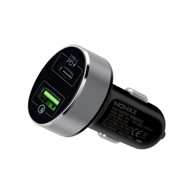 Momax Dual-Port Plug USB-C PD Car Charger QC3 20w -Black