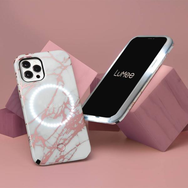 LuMee Halo Case iPhone 12/12 Pro (Rose Metallic White Marble)