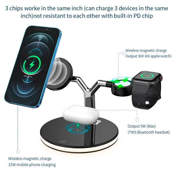 3in1 Magnetic Wireless charger 25W -Black 720010020 with Free Anker Plug