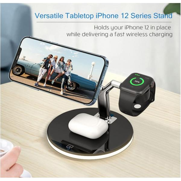 3in1 Magnetic Wireless charger 25W -White #720010019 with Free Anker Plug