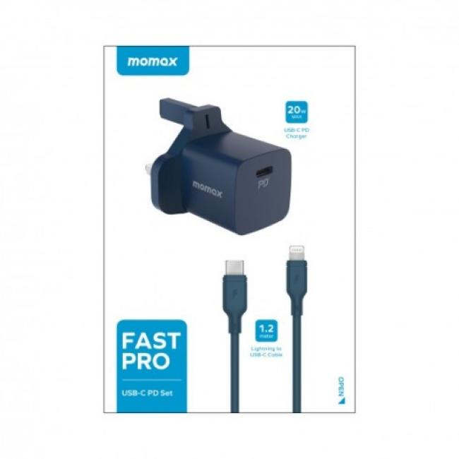 Momax Fast Pro 20wpd 1port pd + lightning cable Blue