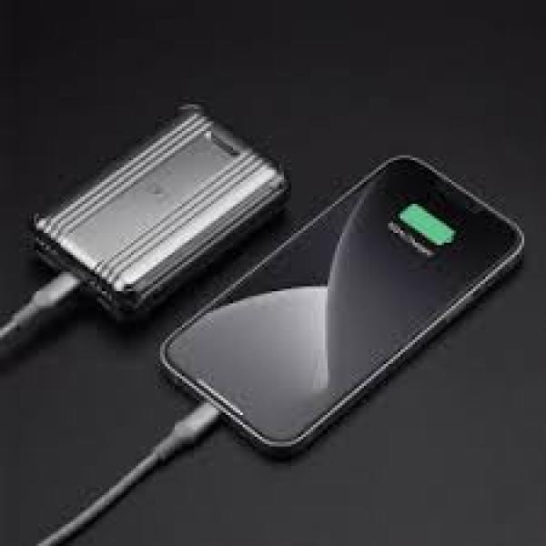 Momax Q.Powergo External Battery Pack- With Lightning To Type-C Cable -1.2M 10000Mah Silver