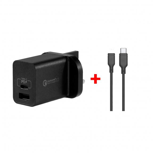 Momax Usb-C Charger (Dual Pd 30W )With Lightning To Type-C Cable -1.2M Black