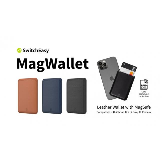 SwitchEasy Leather Wallet with MagSafe for iPhone 12  13 / 12 13 Pro / 12 13 Pro Max -Brown